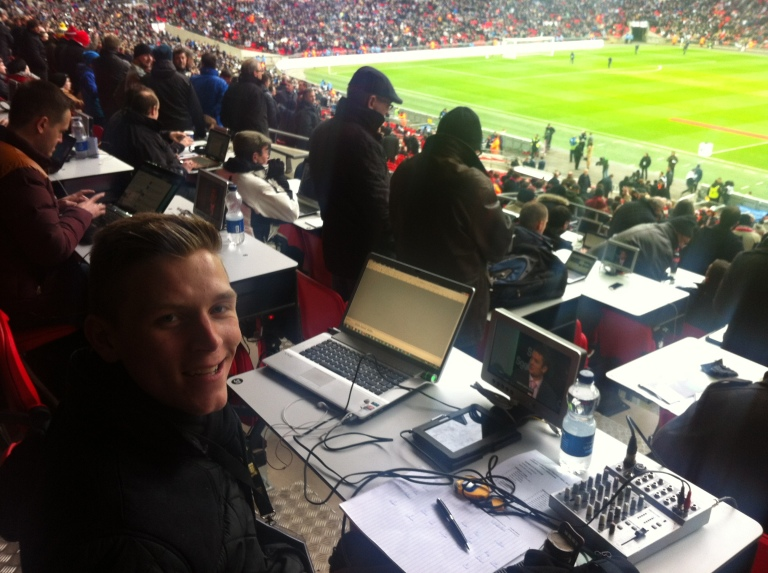 Alex in the Wembley press box.