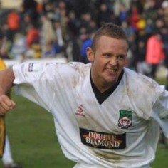 2003: Lee Trundle getsthe consolation in a 3-1 home loss to Macclesfield.