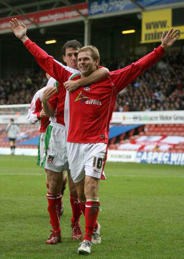 Michael Proctor celebrates scoring the last time we played Chester at Wrexham.