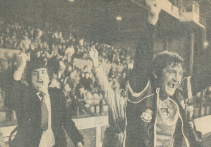 The bench celebrate a remarkable 3-1 win at Nottingham Forest in 1982.