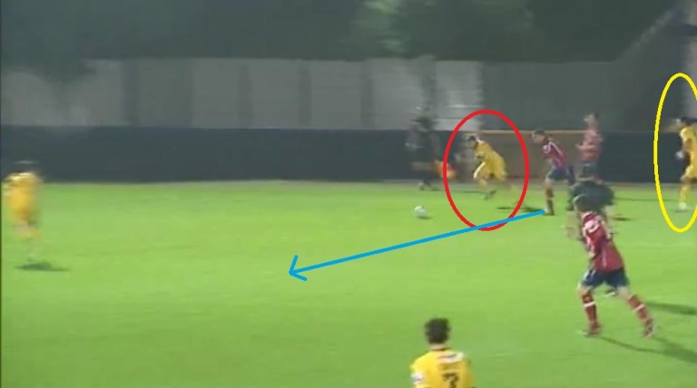 Left back Nutter (red circle) is left exposed by the lack of support ahead of him (yellow circle), opening up space for Hyde to attack.