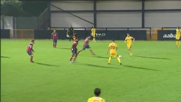 Hyde (in red) forced mistakes from Woking with energetic pressing but lacked the intensity to keep it up throughout the game.
