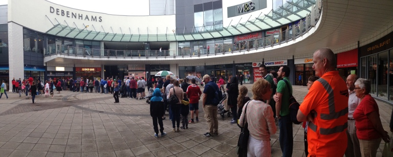 Wrexham fans queue for the new shirt