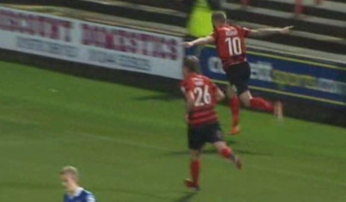 Andy Bishop celebrates scoring against Macclesfield