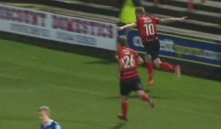 Andy Bishop celebrates scoring against Macclesfield
