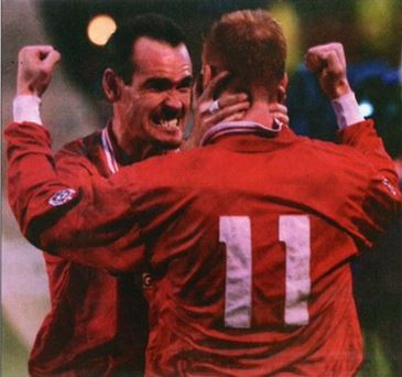 Gary Bennett and Kieran Durkan celebrate the winner against Ipswich.