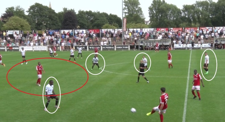 Dominic Vose regularly dropped deep from his wide left position and found lots of space in the hole (red circle), but look at the block of four Bromley players staying up the pitch, facilitating a break away.